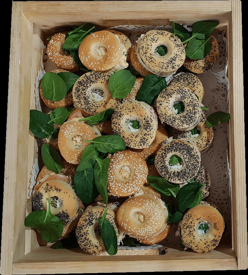 A platter of kosher bagels made by Nifla Kosher Catering