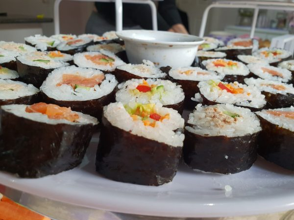 Delicious kosher sushi food platter