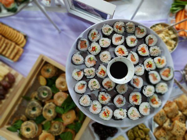 Kosher sushi platter from above