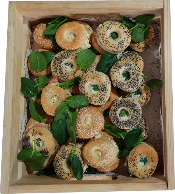 A platter of kosher bagels catered for by Nifla Kosher catering