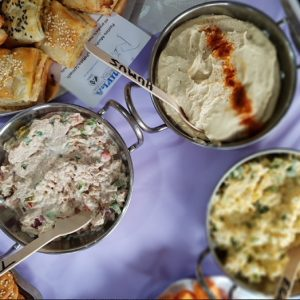 Humus, tuna and egg kosher dips platter by Nifla Kosher Catering in Melbourne