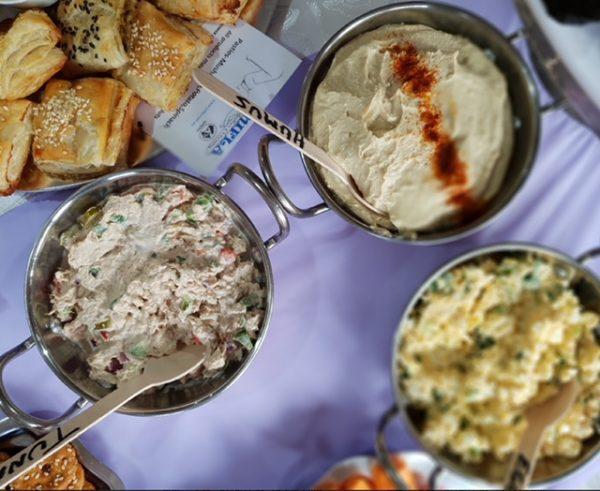 Humus, tuna and egg kosher dips platter by Nifla Kosher Catering in Melbourne